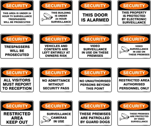 security-safety-multicolor-signs
